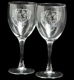 Etched Labrador Wine Glasses - Set of 2 by Labrador Retriever. $31.95. This matching pair of etched wine glasses features a stunning Labrador Retriever portrait on each. 10 oz capacity, dishwasher safe. Made in the USA.