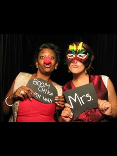 Fun photo booth at get own wedding. Made our own signs from black poster board and white chalk marker. Most signs had paint stick for handles. Dollars store props, sunglasses, clown stuff, Mardi Gras decor all from dollar tree