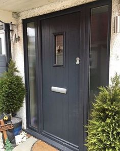 Take a look at this stylish unique entry doors - what an innovative concept Cottage Front Doors, Grey Front Doors, Front Doors With Windows, Modern Front Door, Front Door Design, Front Door Colors, Front Door Canopy, Front Door Porch, Porch Doors