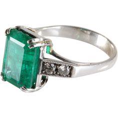 Emerald Diamond Ring   18K White Gold   Vintage Engagement Cocktail