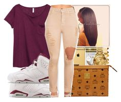 """Untitled #1104"" by chynaloggins ❤ liked on Polyvore featuring H&M, NIKE and MCM"