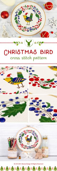 Cross stitch pattern 4.99$ This cute bird with a red hat reminds us that one of the greatest holidays of the year is about to come – that is Christmas. Bright colours of the pattern will embellish your home. You can put this Christmas pattern into an embroidery hoop, as I did, sew a beautiful pillow or even decorate a table cloth with it. Size of a finished embroidery: 119 stitches wide x 116 stitches high #mrmoosedesign