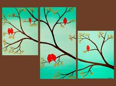 Custom Original Palette Knife Birds On Branches by by QiQiGallery, $265.00