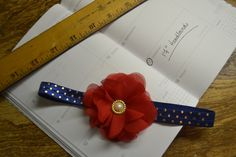 Royal blue band with red and gold accents by LooksWellSaid on Etsy https://www.etsy.com/listing/253642419/royal-blue-band-with-red-and-gold