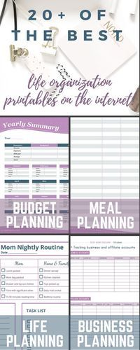 More than 20 of the best life organization printables broken down by category: budget, planning, organization, meal planning, and business printables! Organize life printables / Free life organization printables / Printables to organize your life / Free printables / Printable planning sheets via /redefinemom/