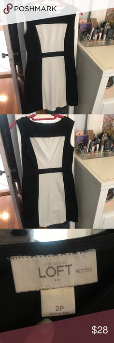 Black and White Loft Dresss Super cute Loft black and white dress that's perfect for work! Love this 50s inspired dress that pairs well with any black heels. Perfect for work or a date! Size 2 petite.  #loft #blackandwhite #professionalstyle LOFT Dresses Midi