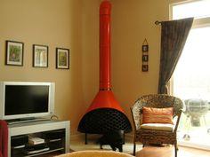 Amazing orange vintage mid century electric fireplace - danish ...