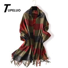 Men Scarf Lattice Tassel Jacquard Thick Cozy Middle Aged Winter Cashmere Like