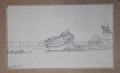Skitsen viser krigsskib, der væltes på Nyholm. Malet den 20. oktober 1807 af Christoffer Wilhelm Eckersberg.