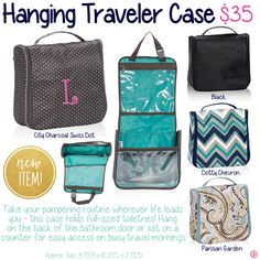 Hanging Traveler Case by Thirty-One. Fall/Winter 2015. Click to order. Join my VIP Facebook Page at https://www.facebook.com/groups/1603655576518592/