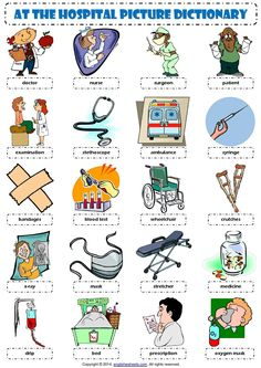 Fun ESL printable word search puzzle worksheets with pictures for kids to study and practise people and things at the hospital vocabulary. Find and circle the . English Resources, English Activities, English Tips, English Study, English Lessons, Learn English, English Phrases, English Words, English Grammar