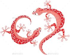 Buy Lizards by katya_dav on GraphicRiver. Cartoon two red spotty lizards Red Lizard, Clip Art, Symbols, Fancy, Graphic Design, Cartoon, Lizards, Ornaments, Drawings