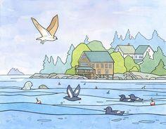 An illustration of the Maine coast, drawn in ink and watercolors. A whimsical landscape of Hog Island, the Audubon Camp in Maine, along with some of the wildlife that lives there, an osprey, guillemot
