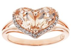 Stratify(Tm)1.25ctw Pear Shape Morganite And .16ctw White Topaz 18k Rose Gold Over Silver Heart Ring