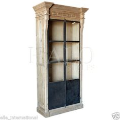 Reclaimed Antique Pine Bookcase Cabinet Vertical Knob Aged Steel Doors New FrShp | eBay