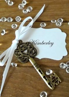 wedding keepsakes for guests keys | Vintage Wedding Escort Cards Skeleton Key Place Cards Romantic Name ...