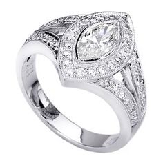 Handcrafted Vintage Marquise Diamond Engagement Ring Halo & Split band