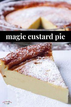 Crust Custard Pie Magic Crust Custard Pie is a ridiculously easy dessert recipe that is made in a blender! *recipe and video*Magic Crust Custard Pie is a ridiculously easy dessert recipe that is made in a blender! *recipe and video* Pudding Desserts, Custard Desserts, Custard Recipes, Köstliche Desserts, Sweet Desserts, Cheesecake Recipes, Sweet Recipes, Baking Recipes, Easy Custard Recipe