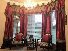 Luxury Window Treatments by Reilly-Chance Collection - red & dark chocolate brown crushed velvet, faux leopard fur & mink, embellished with beading