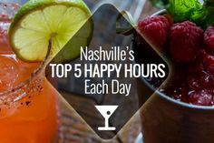 Nashville restaurants and bars have so many happy hours, it's hard to know where to go. We've picked our top 5 happy hours each day of the week in Nashville Bachelorette Weekend, Weekend In Nashville, Nashville Vacation, Music City Nashville, Tennessee Vacation, Sunday Happy Hour, Best Happy Hour, Franklin Tennessee, Nashville Tennessee