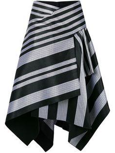 полосатая асимметричная юбка