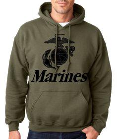 6eb8c62e3857 MARINES HOODIE MILITARY GREEN Usmc Us Hooded Sweatshirt Marine Corps Semper  Fi