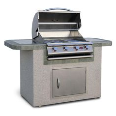 Cal Flame 6 ft. Stucco and Tile Grill Island with 4 Burner Gas Grill in Stainless Steel