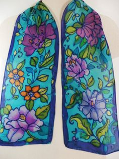 Scarf Hand Painted  Floral Design in Lightweight Silk Habotai in the Colors of Blue Turquoise Green Lime and Purple by LeslieSilkStudio