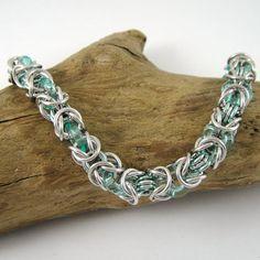 Byzantine Chainmaille Bracelet with Seafoam by HCJewelrybyRose, $17.00