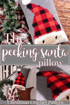 Christmas crochet pattern, crochet pillow, Santa pillow, crochet Santa pattern, holiday crochet, crochet pillow cover, intarsia crochet, buffalo plaid, buffalo check, instant download, crochet home decor, crochet holiday decor, pdf pattern, Santa Claus pattern, Santa pillow pattern, peeking Santa, crochet tutorial