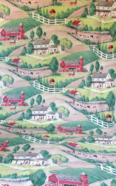 Vintage Barkcloth Fabric with Grandma Moses Style Scene Barn Amish Steers Ranch 7 plus yards Textile