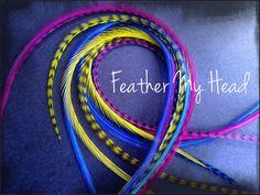 Feather hair extensions do it yourself diy kit 16 pc thin feather hair extensions do it yourself diy kit 16 pc thin feathers medium long 7 9 18 23cm purple blue green caribbean feathered hair hair solutioingenieria Gallery