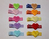 Set of 10 colorful heart hair clippies