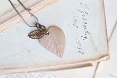 Mother of Pearl and Brass Leafs Pendant  Autumn by Meanglean, $28.00