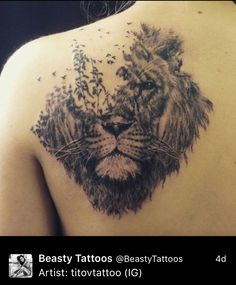 Lion bird back tattoo