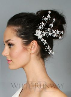 #fashion #australia #melbourne #fashionstore -   A delicate bridal headpiece with pearl and diamante floral motifs fanning out from a metal comb. Flexible wires support these motifs so you can create a personalised hairstyle.    We deliver anywhere i