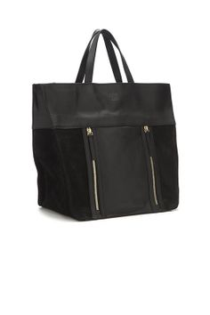Black Leather and Sueded Tote Bag - Gold Zippers -   Black Leather and Sueded Tote Bag - Gold Zippers 100% Lambskin ... | ANINE BING