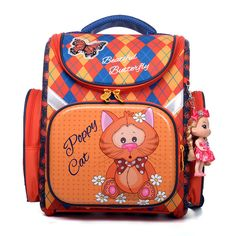 DELUNE Poppy Cat Beautiful Butterfly Patterned Foldable Children School  Bags Girls Boys Orthopedic Schoolbag Backpack with