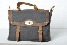 Vintage canvas bag/ leather leisure bag/Washed  unisex canvas bag   elvishcitybag - Bags & Purses on ArtFire
