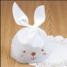 50pcs Lovely White Rabbit Ear Biscuit Bag Cookie Flat Bags Food Cake Packaging