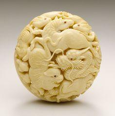 Kaigyokusai (Masatsugu) (Japan, Osaka, 1813-09-13 - 1892-01-21)  Zodiac Animals, mid- to late 19th century  Netsuke, Ivory with sumi, inlays; ryusa type