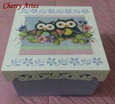 Caixa em MDF decorada Corujas