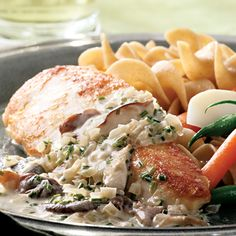 Chicken Breasts with Mushroom Cream Sauce. 215 calories; 9 g fat; 5 g carbohydrates; 25 g protein; 1 g fiber