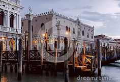 View of front on Doge`s Palace and  Riva degli Schiavoni. Venice, Italy.
