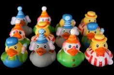 Set of 12 #Carnival Ducks: assortment of clowns, cotton candy vendors, ringmasters, and elephants. They do not squeak and they DO NOT float upright. Each measure...