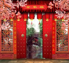 Red-Chinese-Door-with-Caligraphy-opeining-onto-River-Wallpaper-Backdrop-5x7ft-Outdoor-Painted-Studio-Shop-Decor.jpg (482×442)