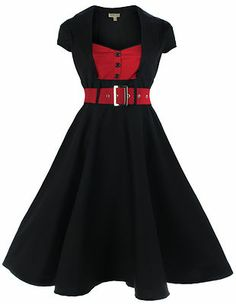 NEW LINDY BOP CLASSY VINTAGE 1950's ROCKABILLY PINUP FLARED SWING EVENING DRESS £32.75