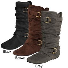 @Overstock - These boots by Glaze by Adi feature a faux suede upper and rounded toe. The shoes are complimented with a fashionable strappy design and side accent buckle.http://www.overstock.com/Clothing-Shoes/Glaze-by-Adi-Womens-Slouchy-Ring-Detail-Microsuede-Boots/5162868/product.html?CID=214117 $35.99
