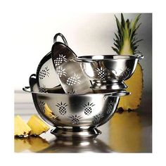 3-Piece Set: Imperial Home High Quality Pineapple-Cut Stainless Steel Deep Colanders
