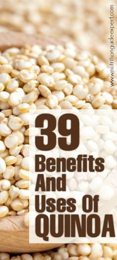 39 Amazing Benefits And Uses Of Quinoa: Quinoa benefits are attributed to its good content of manganese, which is an antioxidant that prevents your body from cancer cells and various illnesses. I love quinoa! Quinoa Benefits, Coconut Health Benefits, Healthy Snacks, Healthy Eating, Healthy Recipes, Food Facts, Health And Nutrition, Health Tips, Health Fitness
